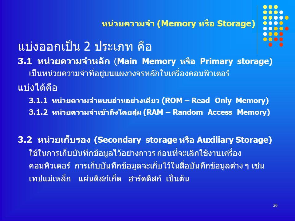 30 แบ่งออกเป็น 2 ประเภท คือ 3.1 หน่วยความจำหลัก (Main Memory หรือ Primary storage) เป็นหน่วยความจำที่อยู่บนแผงวงจรหลักในเครื่องคอมพิวเตอร์ แบ่งได้คือ