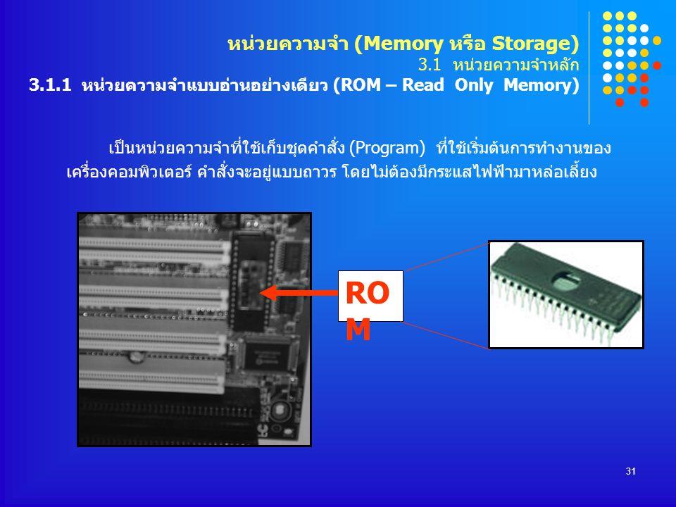 31 เป็นหน่วยความจำที่ใช้เก็บชุดคำสั่ง (Program) ที่ใช้เริ่มต้นการทำงานของ เครื่องคอมพิวเตอร์ คำสั่งจะอยู่แบบถาวร โดยไม่ต้องมีกระแสไฟฟ้ามาหล่อเลี้ยง RO