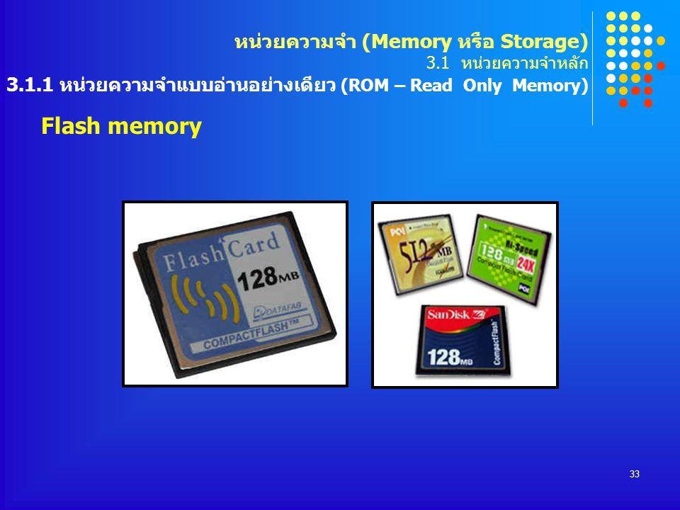 33 Flash memory หน่วยความจำ (Memory หรือ Storage) 3.1 หน่วยความจำหลัก 3.1.1 หน่วยความจำแบบอ่านอย่างเดียว (ROM – Read Only Memory)