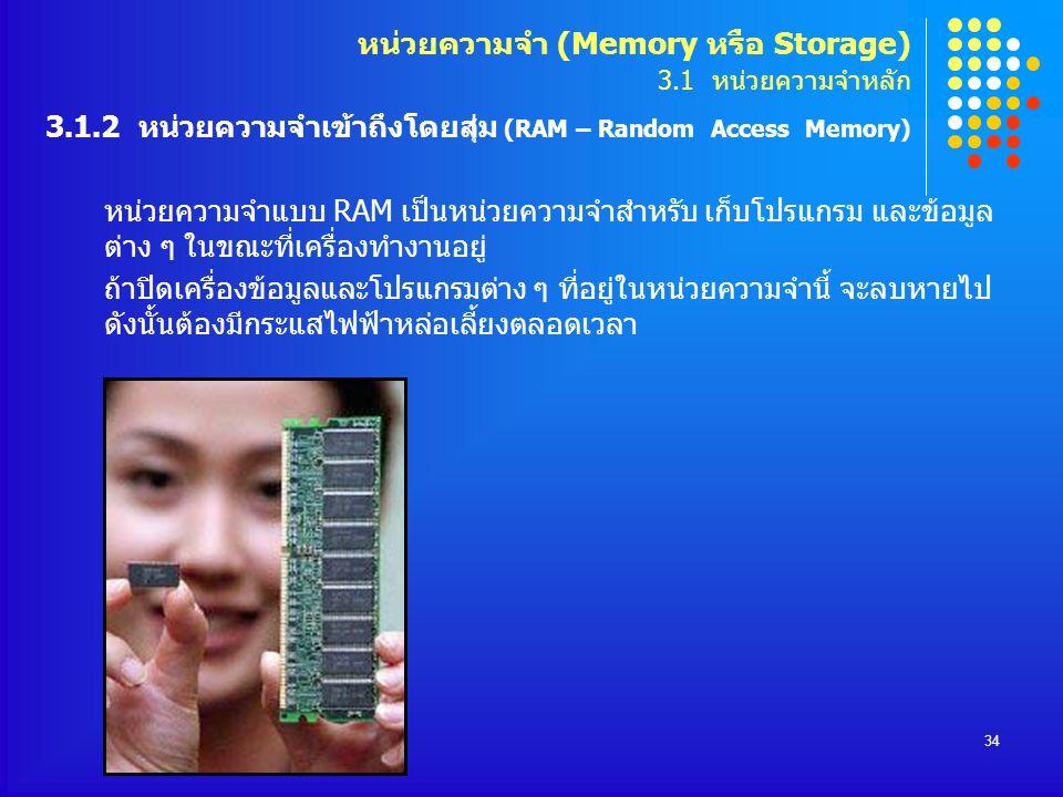 34 หน่วยความจำแบบ RAM เป็นหน่วยความจำสำหรับ เก็บโปรแกรม และข้อมูล ต่าง ๆ ในขณะที่เครื่องทำงานอยู่ ถ้าปิดเครื่องข้อมูลและโปรแกรมต่าง ๆ ที่อยู่ในหน่วยคว