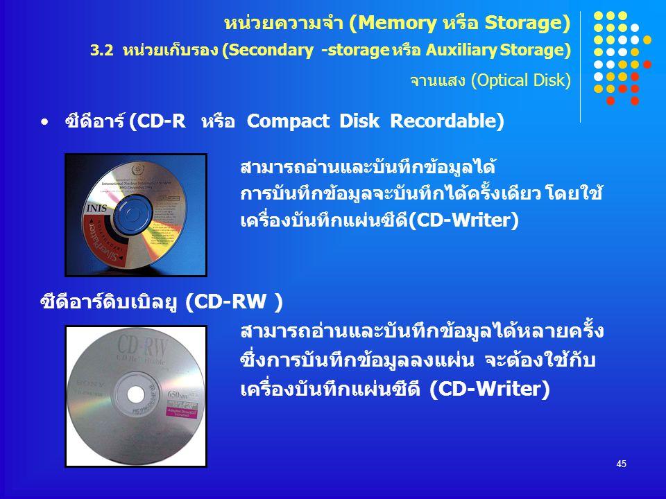 45 ซีดีอาร์ (CD-R หรือ Compact Disk Recordable) สามารถอ่านและบันทึกข้อมูลได้ การบันทึกข้อมูลจะบันทึกได้ครั้งเดียว โดยใช้ เครื่องบันทึกแผ่นซีดี(CD-Writ