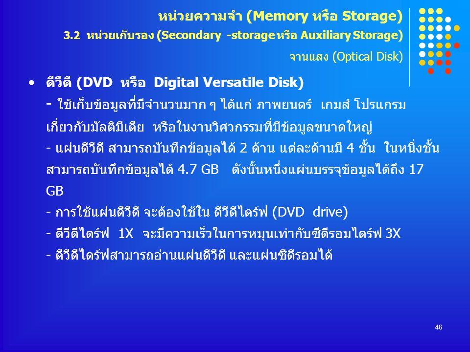 46 ดีวีดี (DVD หรือ Digital Versatile Disk) - ใช้เก็บข้อมูลที่มีจำนวนมาก ๆ ได้แก่ ภาพยนตร์ เกมส์ โปรแกรม เกี่ยวกับมัลติมีเดีย หรือในงานวิศวกรรมที่มีข้