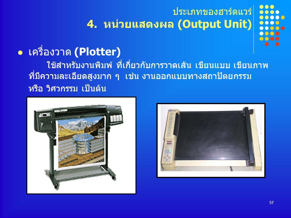 57 เครื่องวาด (Plotter) ใช้สำหรับงานพิมพ์ ที่เกี่ยวกับการวาดเส้น เขียนแบบ เขียนภาพ ที่มีความละเอียดสูงมาก ๆ เช่น งานออกแบบทางสถาปัตยกรรม หรือ วิศวกรรม