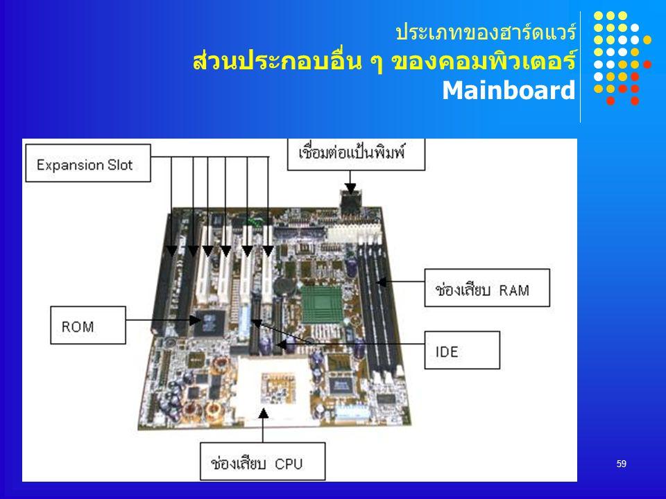 COMPUTER DEPARTMENT59 ประเภทของฮาร์ดแวร์ ส่วนประกอบอื่น ๆ ของคอมพิวเตอร์ Mainboard