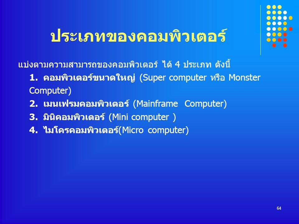64 ประเภทของคอมพิวเตอร์ แบ่งตามความสามารถของคอมพิวเตอร์ ได้ 4 ประเภท ดังนี้ 1. คอมพิวเตอร์ขนาดใหญ่ (Super computer หรือ Monster Computer) 2. เมนเฟรมคอ