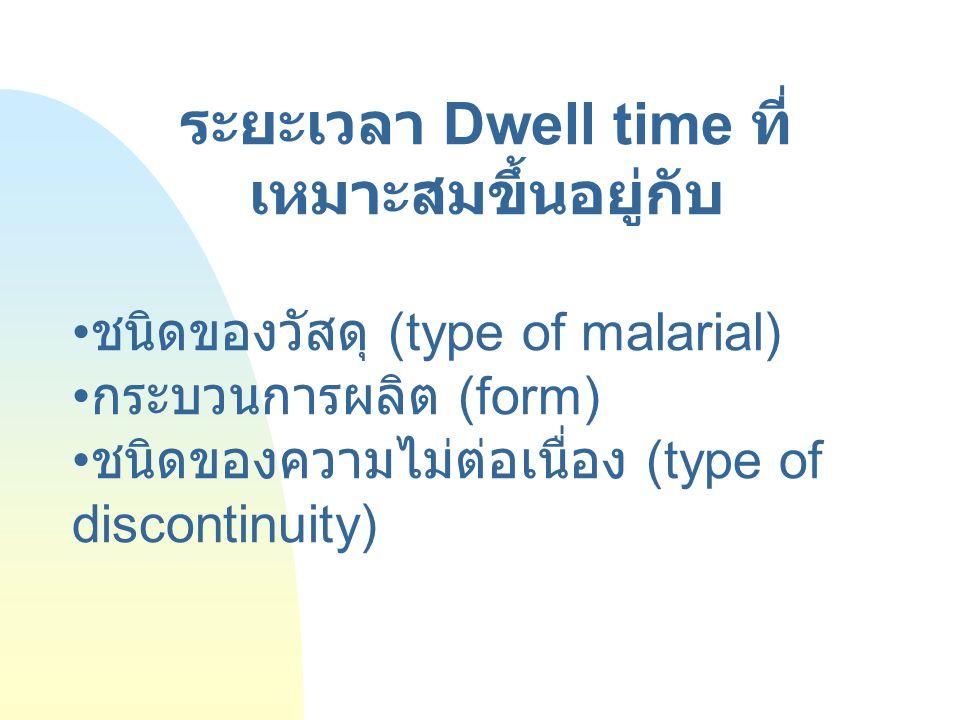 ระยะเวลา Dwell time ที่ เหมาะสมขึ้นอยู่กับ ชนิดของวัสดุ (type of malarial) กระบวนการผลิต (form) ชนิดของความไม่ต่อเนื่อง (type of discontinuity)