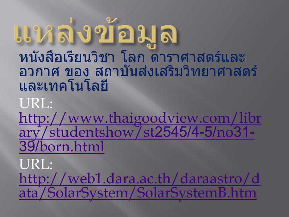 หนังสือเรียนวิชา โลก ดาราศาสตร์และ อวกาศ ของ สถาบันส่งเสริมวิทยาศาสตร์ และเทคโนโลยี URL: http://www.thaigoodview.com/libr ary/studentshow/st2545/4-5/no31- 39/born.html http://www.thaigoodview.com/libr ary/studentshow/st2545/4-5/no31- 39/born.html URL: http://web1.dara.ac.th/daraastro/d ata/SolarSystem/SolarSystemB.htm http://web1.dara.ac.th/daraastro/d ata/SolarSystem/SolarSystemB.htm