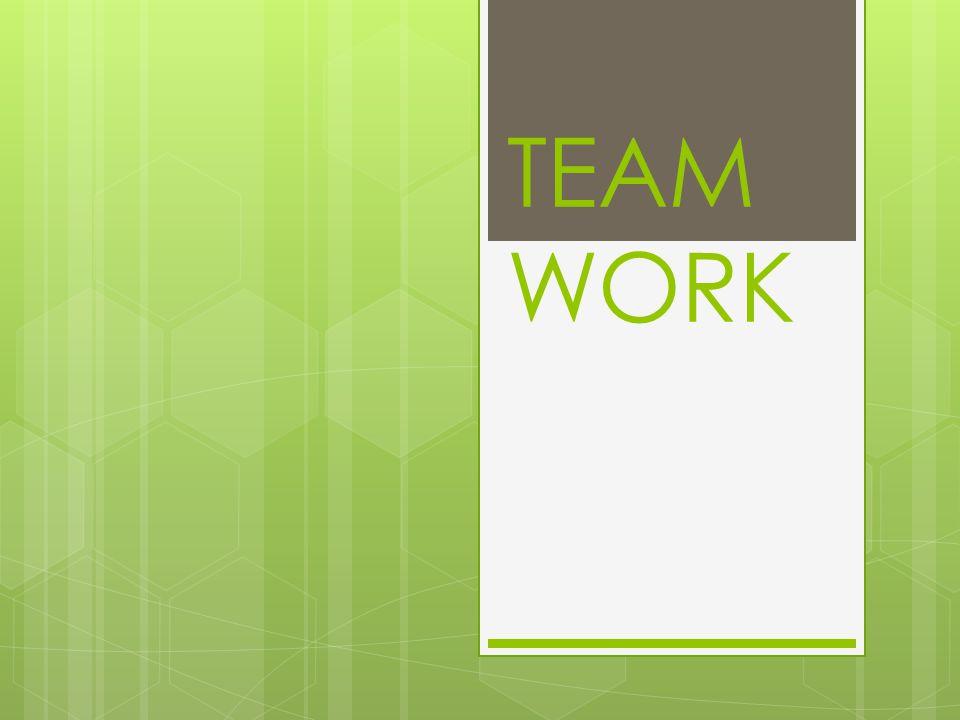 Team Work  การทำงานที่บุคคลหลายคนมา ทำงานร่วมกันโดย  มีความคิด ความร่วมมือ ร่วมใจ ในการทำงาน  เพื่อบรรลุจุดมุ่งหมายร่วมกัน  อย่างประสานสอดคล้อง  มีความพึงพอใจในการทำงาน ร่วมกัน  สามารถผลิตสินค้า และบริการที่ มีคุณภาพสูง
