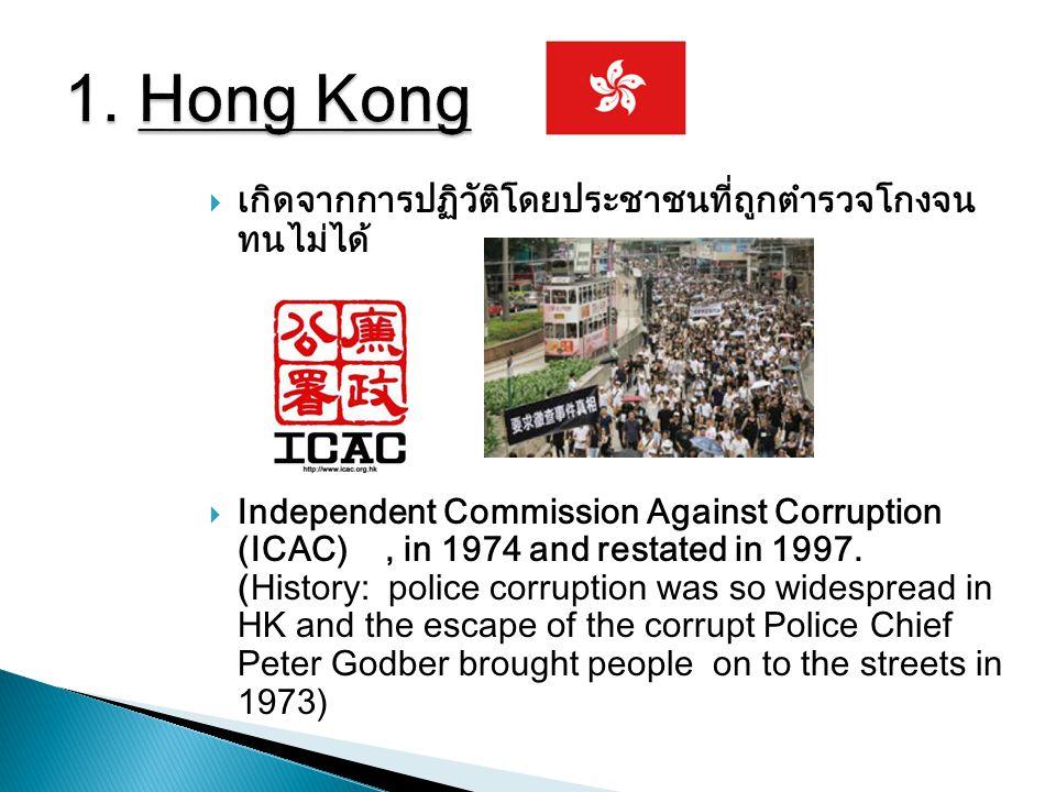  เกิดจากการปฏิวัติโดยประชาชนที่ถูกตำรวจโกงจน ทนไม่ได้  Independent Commission Against Corruption (ICAC), in 1974 and restated in 1997. (History: pol