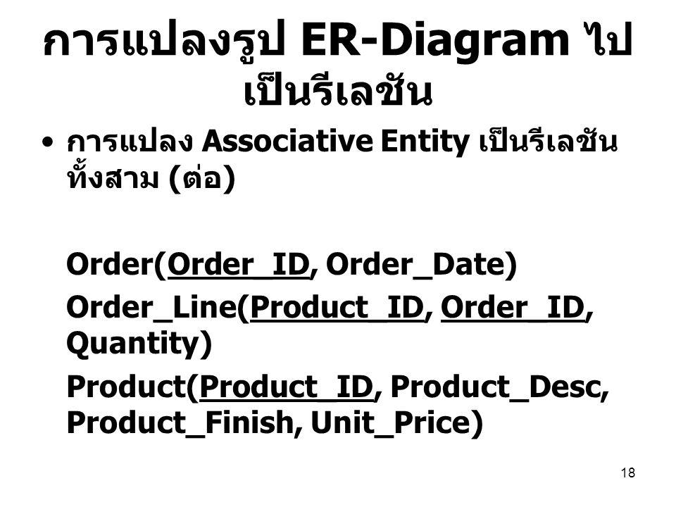 18 การแปลงรูป ER-Diagram ไป เป็นรีเลชัน การแปลง Associative Entity เป็นรีเลชัน ทั้งสาม ( ต่อ ) Order(Order_ID, Order_Date) Order_Line(Product_ID, Orde