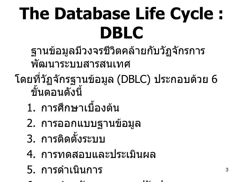 3 The Database Life Cycle : DBLC ฐานข้อมูลมีวงจรชีวิตคล้ายกับวัฏจักรการ พัฒนาระบบสารสนเทศ โดยที่วัฏจักรฐานข้อมูล (DBLC) ประกอบด้วย 6 ขั้นตอนดังนี้ 1.