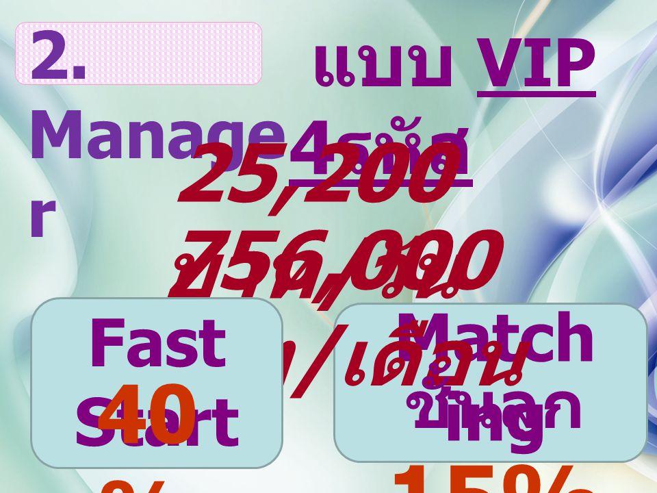 Match ing แบบ VIP 4 รหัส 2. Manage r 25,200 บาท / วัน 756,000 บาท / เดือน ชั้นลูก 15% Fast Start 40 %
