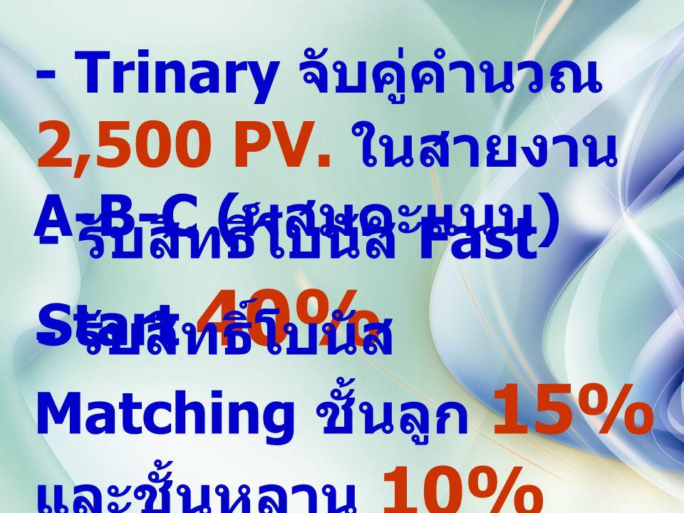 - Trinary จับคู่คำนวณ 2,500 PV. ในสายงาน A-B-C ( ผสมคะแนน ) - รับสิทธิ์โบนัส Fast Start 40% - รับสิทธิ์โบนัส Matching ชั้นลูก 15% และชั้นหลาน 10%