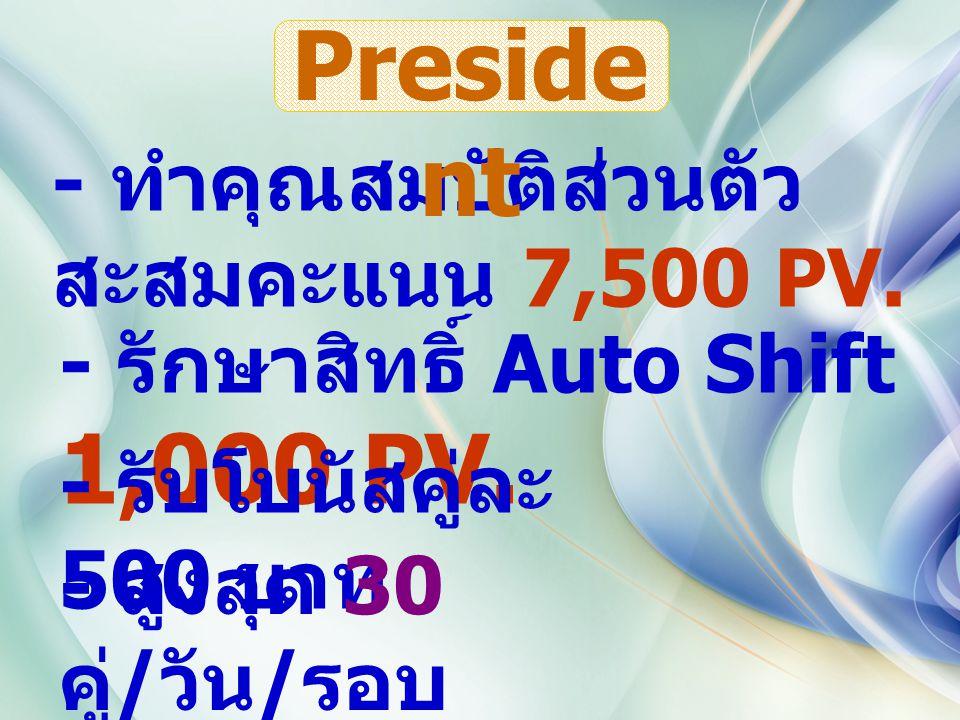 - ทำคุณสมบัติส่วนตัว สะสมคะแนน 7,500 PV. - รักษาสิทธิ์ Auto Shift 1,000 PV.
