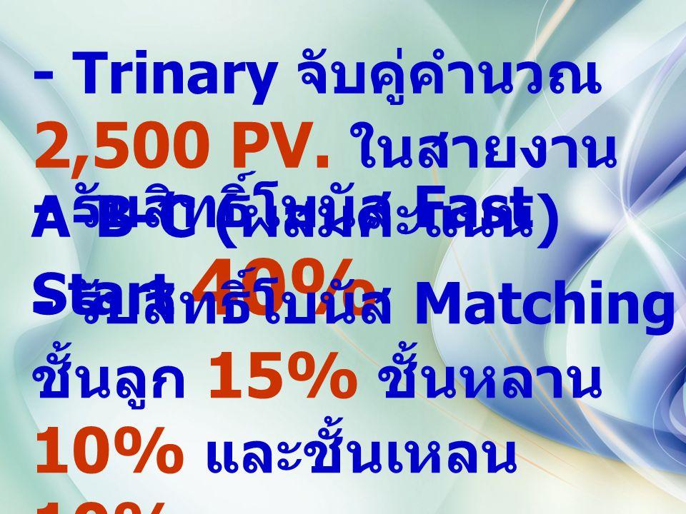 - Trinary จับคู่คำนวณ 2,500 PV. ในสายงาน A-B-C ( ผสมคะแนน ) - รับสิทธิ์โบนัส Fast Start 40% - รับสิทธิ์โบนัส Matching ชั้นลูก 15% ชั้นหลาน 10% และชั้น