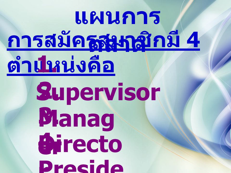 แผนการ ตลาด การสมัครสมาชิกมี 4 ตำแหน่งคือ 1. Supervisor 2. Manag er 3. Directo r 4. Preside nt
