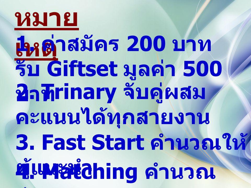 หมาย เหตุ 1. ค่าสมัคร 200 บาท รับ Giftset มูลค่า 500 บาท 2. Trinary จับคู่ผสม คะแนนได้ทุกสายงาน 3. Fast Start คำนวณให้ ผู้แนะนำ 4. Matching คำนวณ จ่าย