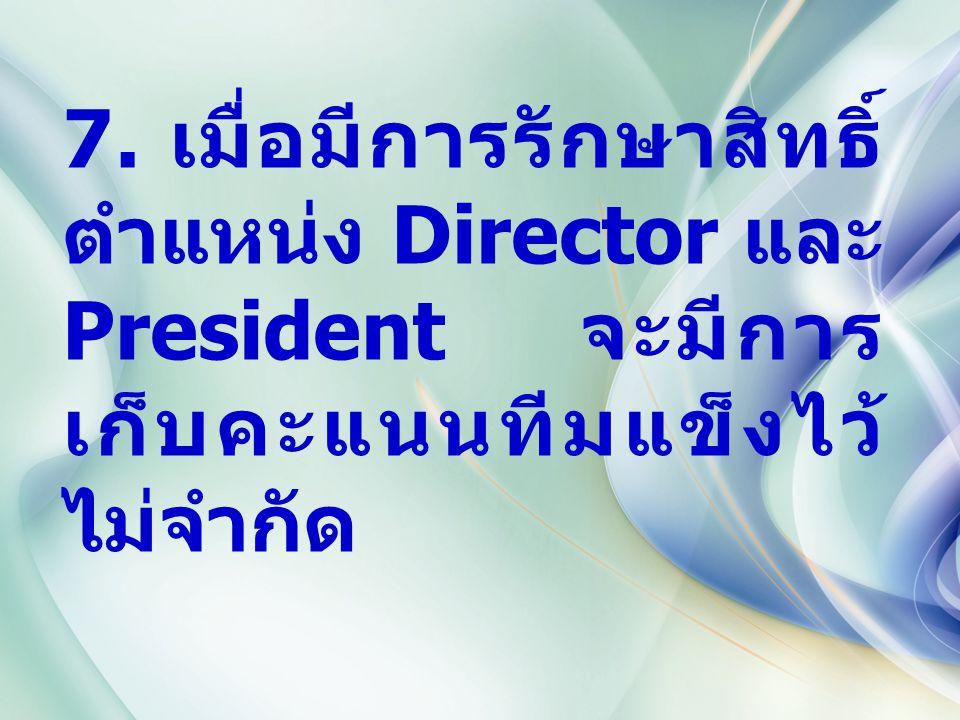 7. เมื่อมีการรักษาสิทธิ์ ตำแหน่ง Director และ President จะมีการ เก็บคะแนนทีมแข็งไว้ ไม่จำกัด