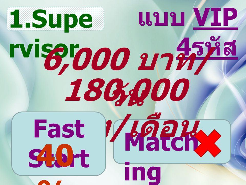 Match ing แบบ VIP 4 รหัส 1.Supe rvisor 180,000 บาท / เดือน 6,000 บาท / วัน Fast Start 40 %