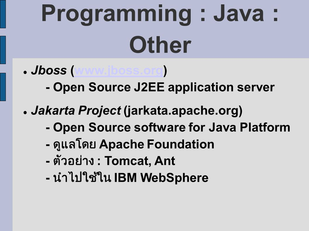 Programming : Java : Other Jboss (www.jboss.org)www.jboss.org - Open Source J2EE application server Jakarta Project (jarkata.apache.org) - Open Source