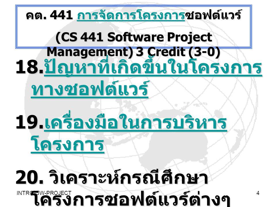INTRO-SW-PROJECT5 การ ทำ ~30 % - 40% ขั้นตอ น 2 การ จัดทำ และ พัฒนา ซอฟต์ แวร์ แนวทางการบริหารจัดการโครงการที่ดี (Scope = Resources + Time)  INFORMATION  Hardware/ Software Of Computer and Network  People ware  BUSINESS RULE / ACTS:- Structured Rules / Code of Conducts/ ETHICS Digital Firms ขับ เคลื่อน ห่วงโซ่ คุณค่า 1 Softwar e Back Bone ขับเคลื่อ นห่วงโซ่ คุณค่า 2 กระบวน งาน ICT ขับ เคลื่อน ห่วงโซ่ คุณค่า 3 กำหนดกรอบ เวลา ….>  BUDGETS แกนตั้งการสร้างความ พร้อม จัดสรรทรัพยารที่ จำกัดของโครงการ CSF of ICT Infrastructure (CBIS/ TBIS) คือ >> บรรลุแผน ICT ขับเคลื่อน ห่วงโซ่ คุณค่า 4 ส่งเสริม สนับสนุน และ ผลักดัน การบริหาร จัดการที่ดี ตามแผน แม่บท ICT / SISP การแก้ไข ปิด โครงการ ~-30% -10% ขั้นตอน 3 การทดสอบและปรัป ระบบ ฝึกอบรม ใช้งาน และจัดการ ศูนย์ข้อมูล.