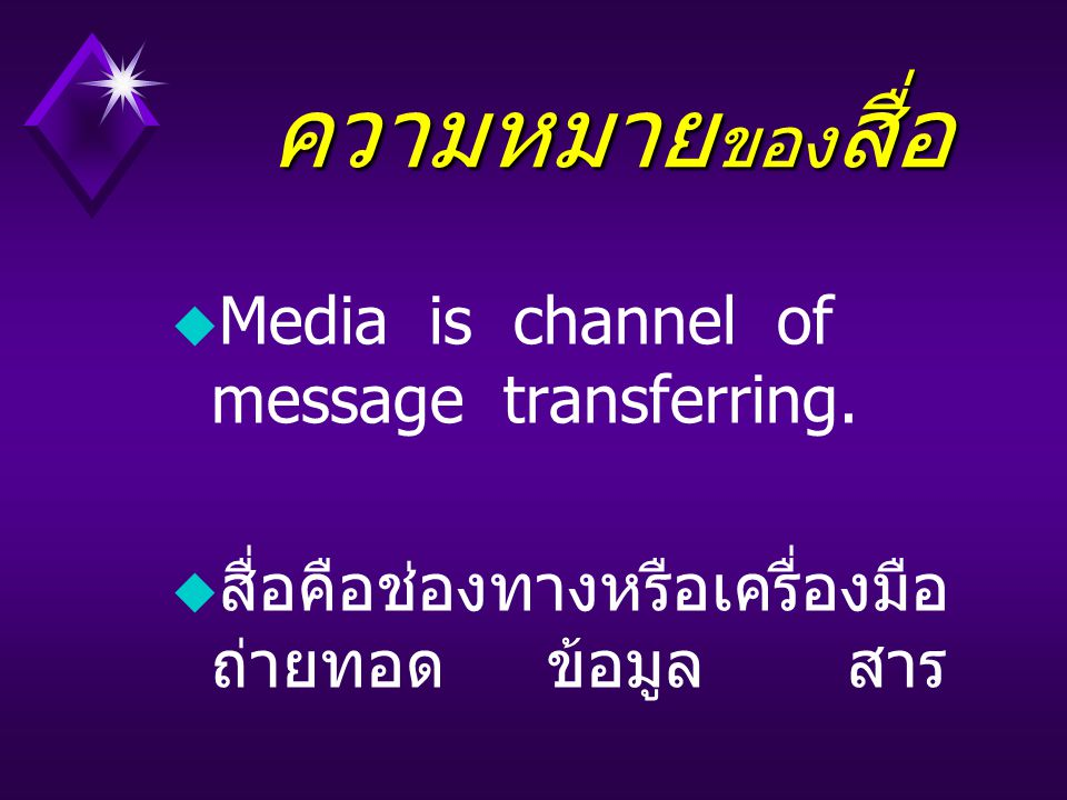 ความหมาย ของ สื่อ ความหมาย ของ สื่อ u Media is channel of message transferring.