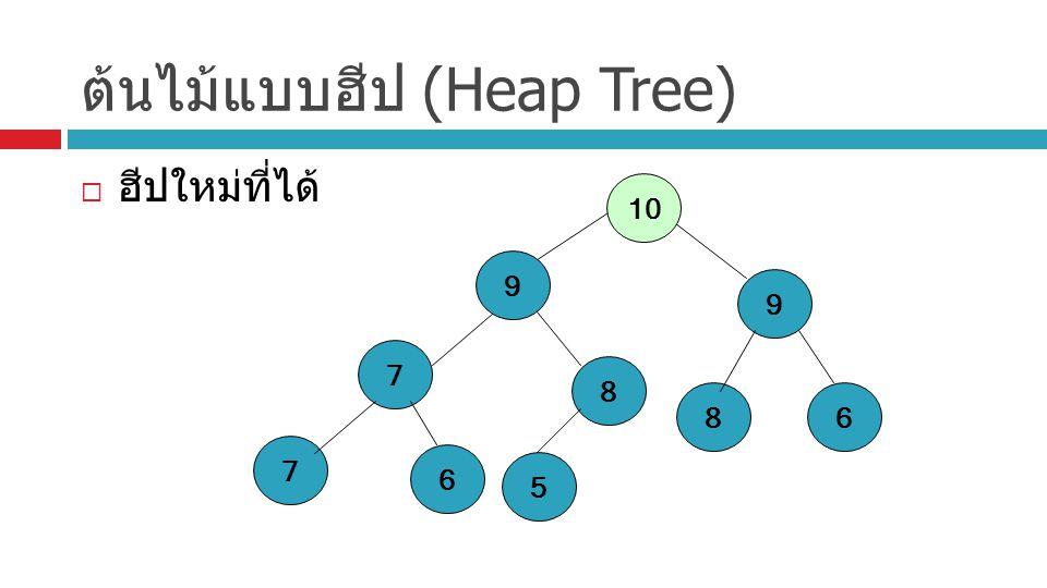 ต้นไม้แบบฮีป (Heap Tree)  ฮีปใหม่ที่ได้ 9 7 86 7 6 8 5 9 10