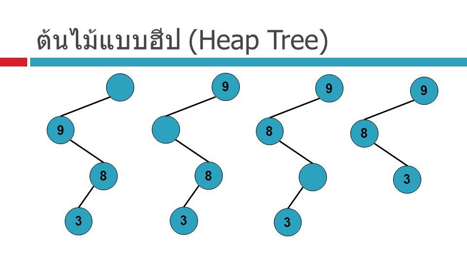 ต้นไม้แบบฮีป (Heap Tree) 9 8 3 9 8 3 9 8 3 9 8 3