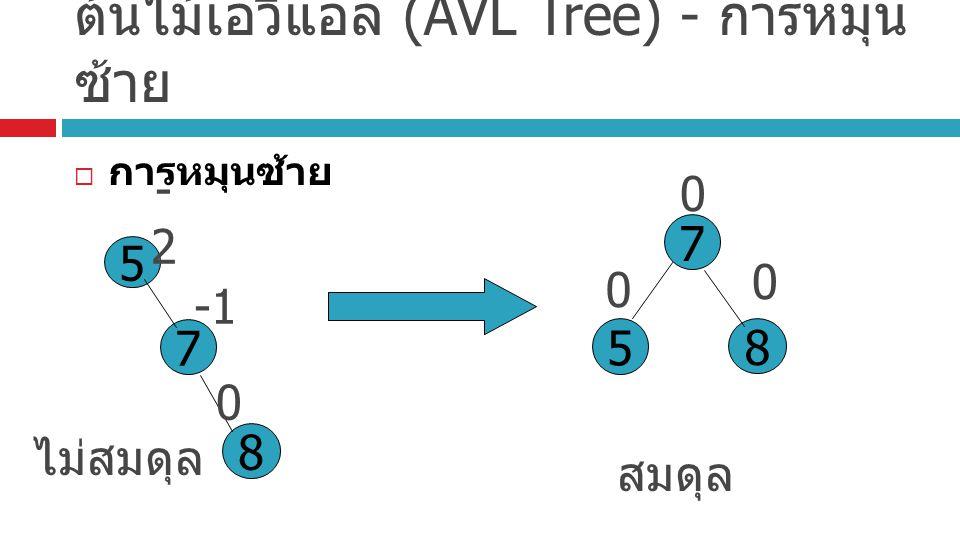 ต้นไม้เอวีแอล (AVL Tree) - การหมุน ซ้าย  การหมุนซ้าย ไม่สมดุล 5 7 8 -2-2 0 สมดุล 5 7 8 0 0 0