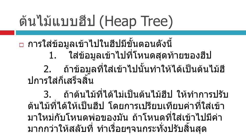 ต้นไม้แบบฮีป (Heap Tree)  การใส่ข้อมูลเข้าไปในฮีปมีขั้นตอนดังนี้ 1. ใส่ข้อมูลเข้าไปที่โหนดสุดท้ายของฮีป 2. ถ้าข้อมูลที่ใส่เข้าไปนั้นทำให้ได้เป็นต้นไม