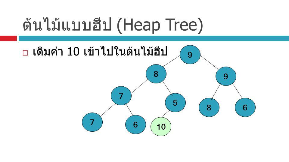 ต้นไม้แบบฮีป (Heap Tree)  เติมค่า 10 เข้าไปในต้นไม้ฮีป 9 8 5 7 86 9 7 6 10