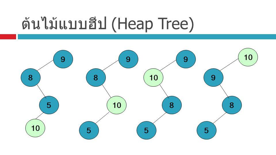 ต้นไม้แบบฮีป (Heap Tree) 8 5 9 10 8 5 9 8 5 9 8 5 9