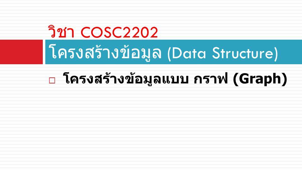  โครงสร้างข้อมูลแบบ กราฟ (Graph) วิชา COSC2202 โครงสร้างข้อมูล (Data Structure)