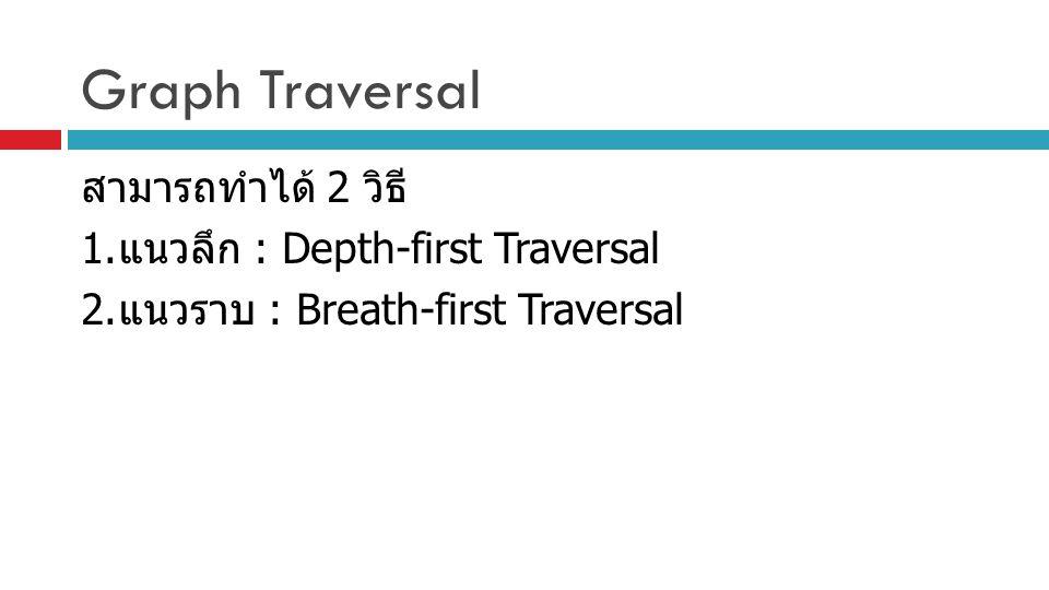 Graph Traversal สามารถทำได้ 2 วิธี 1. แนวลึก : Depth-first Traversal 2. แนวราบ : Breath-first Traversal