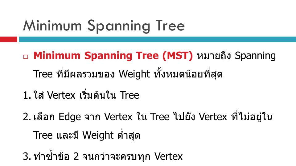 Minimum Spanning Tree  Minimum Spanning Tree (MST) หมายถึง Spanning Tree ที่มีผลรวมของ Weight ทั้งหมดน้อยที่สุด 1. ใส่ Vertex เริ่มต้นใน Tree 2. เลือ