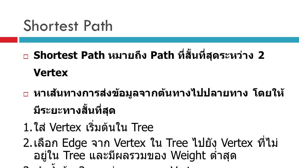 Shortest Path  Shortest Path หมายถึง Path ที่สั้นที่สุดระหว่าง 2 Vertex  หาเส้นทางการส่งข้อมูลจากต้นทางไปปลายทาง โดยให้ มีระยะทางสั้นที่สุด 1. ใส่ V