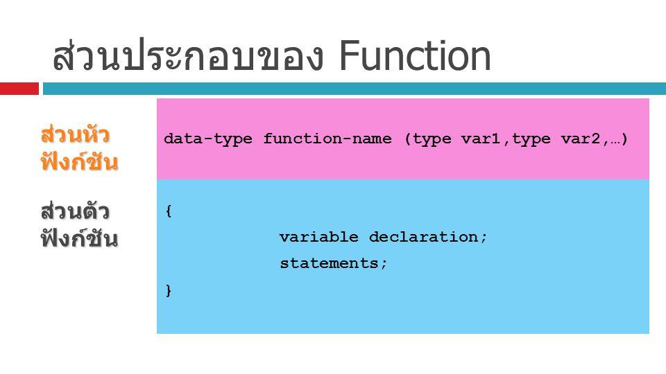 ส่วนประกอบของ Function ส่วนหัว ฟังก์ชัน data-type function-name (type var1,type var2,…) ส่วนตัว ฟังก์ชัน { variable declaration; statements; }