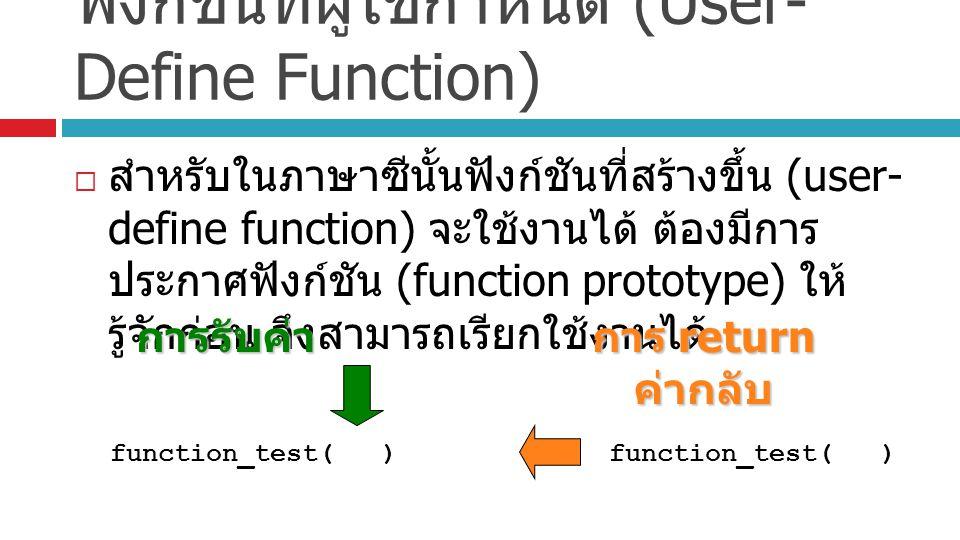 ฟังก์ชันที่ผู้ใช้กำหนด (User- Define Function)  สำหรับในภาษาซีนั้นฟังก์ชันที่สร้างขึ้น (user- define function) จะใช้งานได้ ต้องมีการ ประกาศฟังก์ชัน (