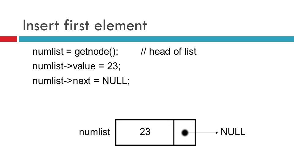 Insert element on head of list NEW = getnode(); // head of list NEW->value = 20; NEW->next = numlist; NEW 20 numlist23NULL numlist = NEW;
