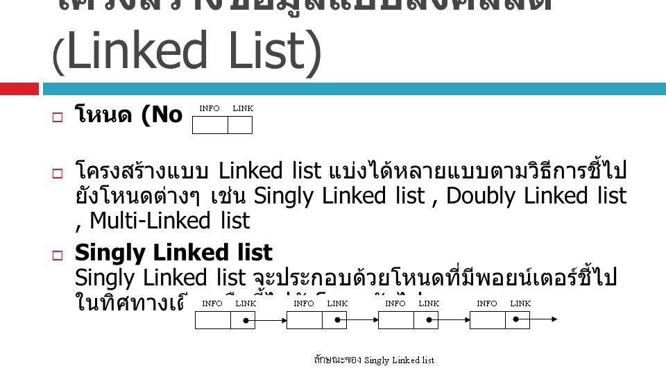 โครงสร้างข้อมูลแบบลิงค์ลิสต์ ( Linked List)  โหนด (Node)  โครงสร้างแบบ Linked list แบ่งได้หลายแบบตามวิธีการชี้ไป ยังโหนดต่างๆ เช่น Singly Linked list, Doubly Linked list, Multi-Linked list  Singly Linked list Singly Linked list จะประกอบด้วยโหนดที่มีพอยน์เตอร์ชี้ไป ในทิศทางเดียว คือชี้ไปยังโหนดถัดไป