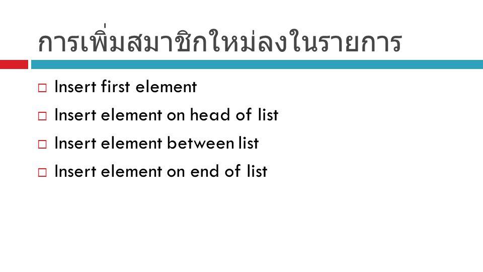 การเพิ่มสมาชิกใหม่ลงในรายการ  Insert first element  Insert element on head of list  Insert element between list  Insert element on end of list