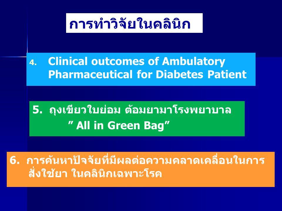 "4. 4. Clinical outcomes of Ambulatory Pharmaceutical for Diabetes Patient การทำวิจัยในคลินิก 5. ถุงเขียวใบย่อม ต้อมยามาโรงพยาบาล "" All in Green Bag"" 6"
