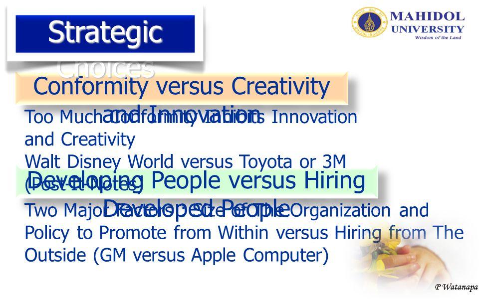 P Watanapa Conformity versus Creativity and Innovation Developing People versus Hiring Developed People Too Much Conformity Inhibits Innovation and Cr
