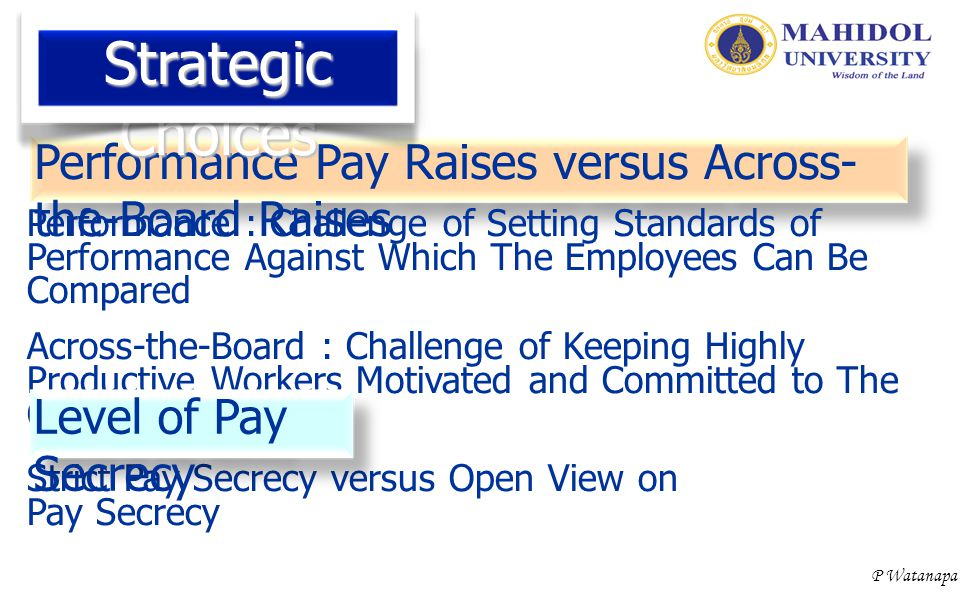 P Watanapa Performance Pay Raises versus Across- the-Board Raises Performance : Challenge of Setting Standards of Performance Against Which The Employ