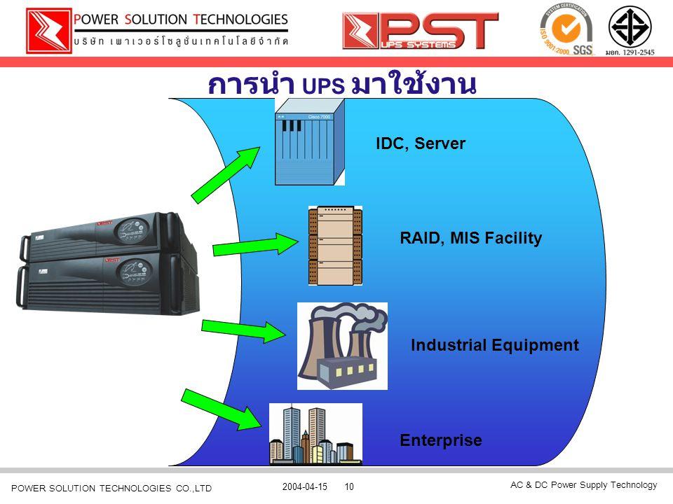 AC & DC Power Supply Technology 2004-04-1510 POWER SOLUTION TECHNOLOGIES CO.,LTD การนำ UPS มาใช้งาน IDC, Server RAID, MIS Facility Industrial Equipmen