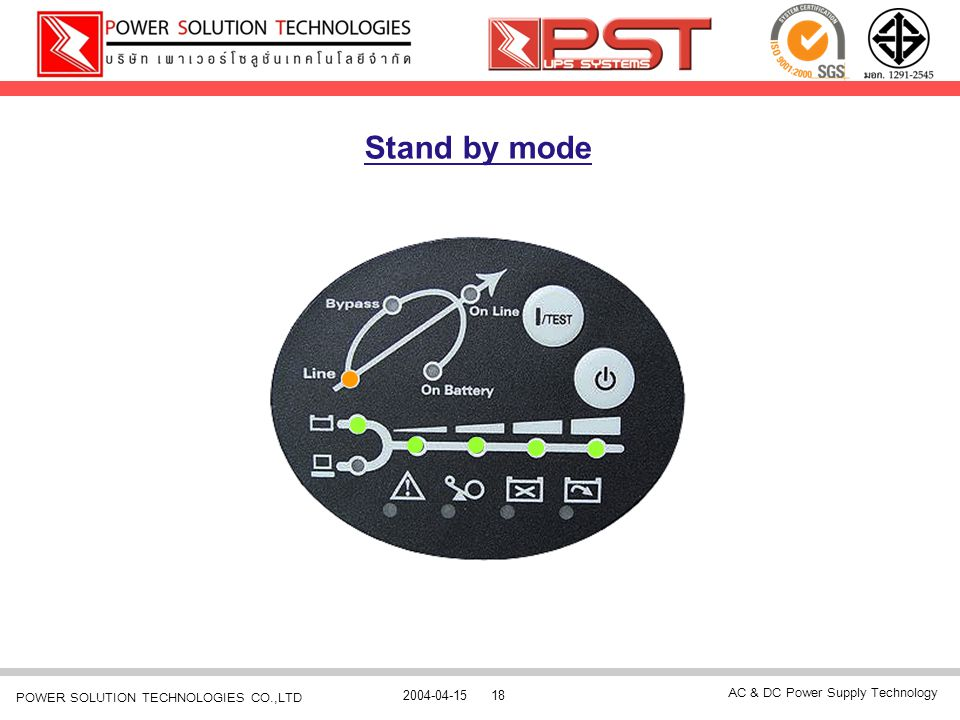 AC & DC Power Supply Technology 2004-04-1518 POWER SOLUTION TECHNOLOGIES CO.,LTD Stand by mode