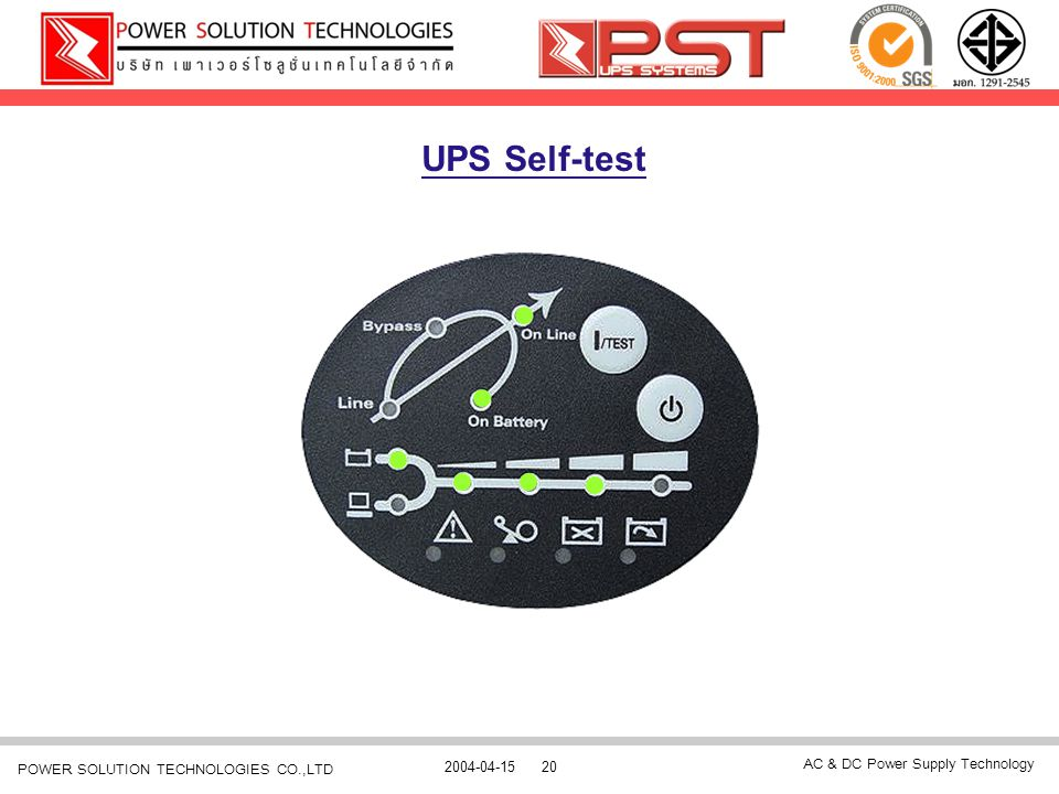 AC & DC Power Supply Technology 2004-04-1520 POWER SOLUTION TECHNOLOGIES CO.,LTD UPS Self-test