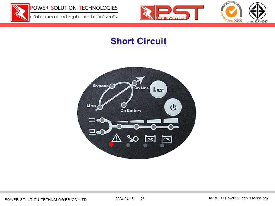 AC & DC Power Supply Technology 2004-04-1525 POWER SOLUTION TECHNOLOGIES CO.,LTD Short Circuit