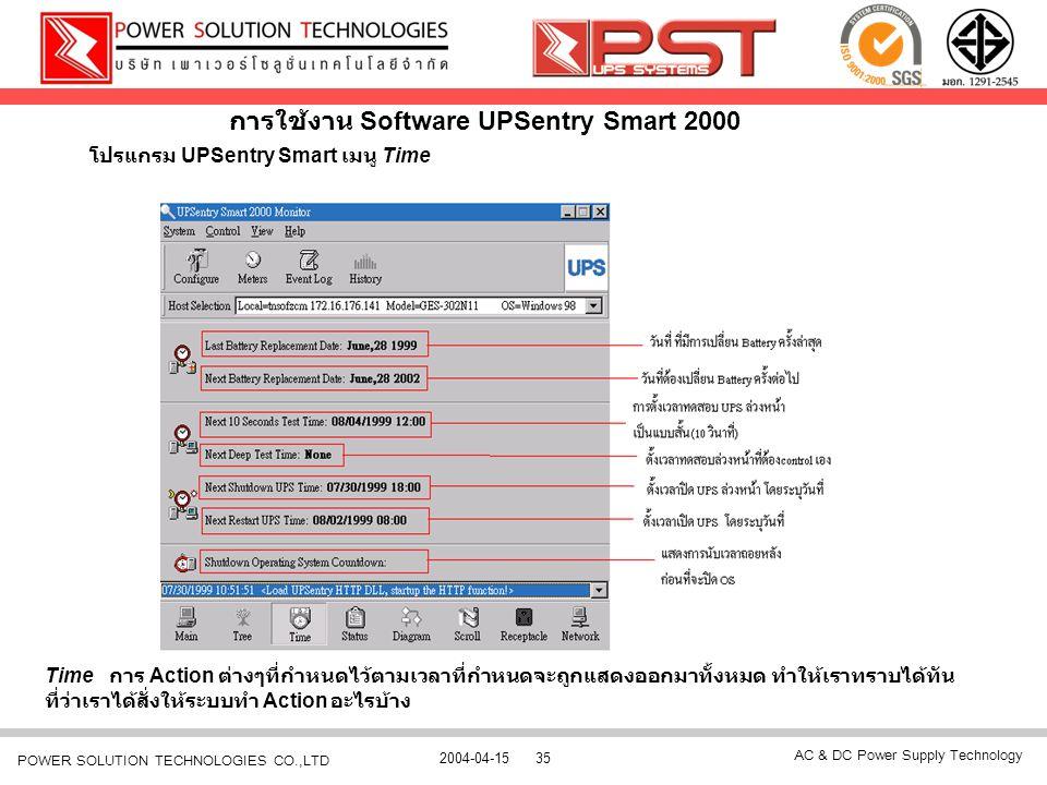 AC & DC Power Supply Technology 2004-04-1535 POWER SOLUTION TECHNOLOGIES CO.,LTD การใช้งาน Software UPSentry Smart 2000 โปรแกรม UPSentry Smart เมนู Ti