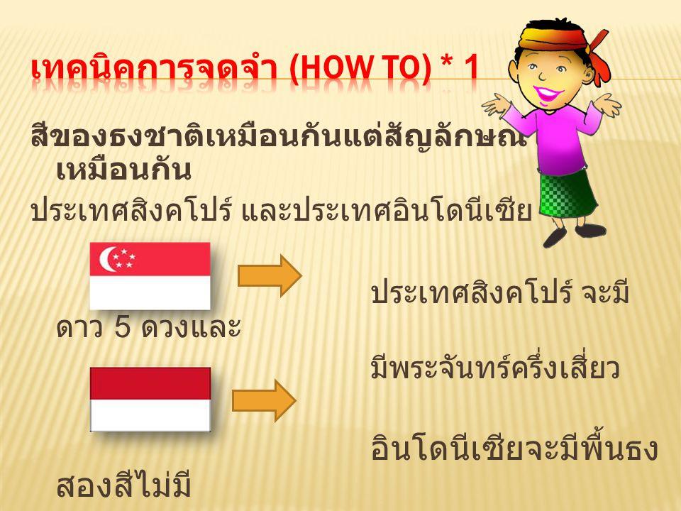 สีของธงชาติเหมือนกันแต่สัญลักษณ์ไม่ เหมือนกัน ประเทศสิงคโปร์ และประเทศอินโดนีเซีย ประเทศสิงคโปร์ จะมี ดาว 5 ดวงและ มีพระจันทร์ครึ่งเสี่ยว อินโดนีเซียจ
